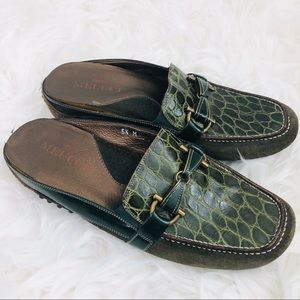 Sesto Meucci Italy Green Loafer Comfort Mules 5.5M
